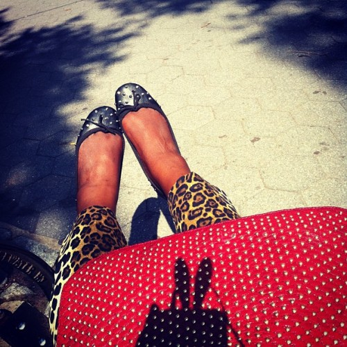 Black Studded Flats x Leopard pants x Red Studded @rebeccaminkoff  (Taken with Instagram at Tot Lot 112)