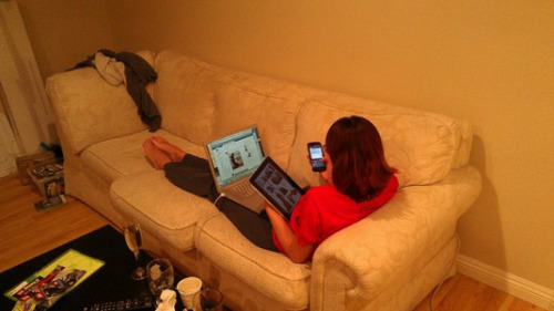 Girl Using Computer, Tablet, and Phone Simultaneously  When internet addiction gets really bad, you need more internet to feel the same buzz as before.