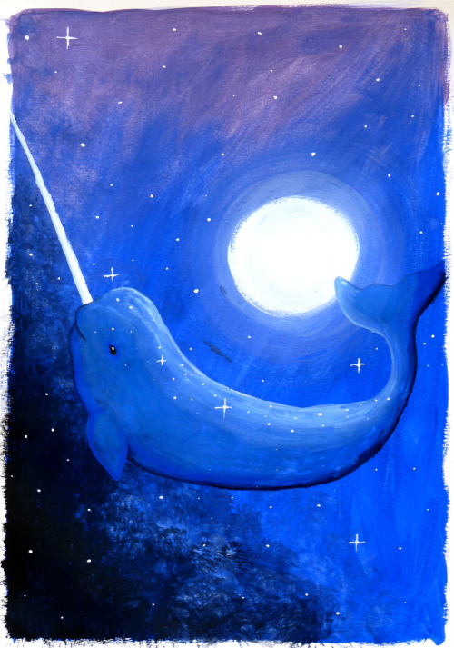 Another starwhale, this time painted with gouache