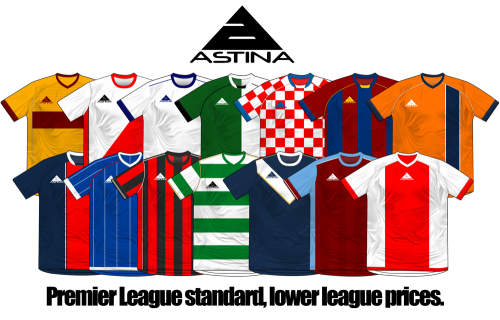 More work for Astina Sports Ltd. All shirts on the image are part of the 2012/2013 catalogue. Full range of kits and training gear can be seen below.  www.astinafootball.com