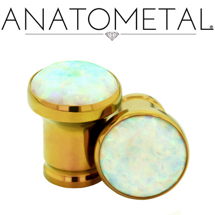 anatometal:  2ga Single Stone Eyelets in ASTM F-136 titanium, anodized copper; synthetic Opal #17 gems