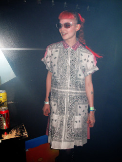 Grimes in Seth Pratt bandana dress.