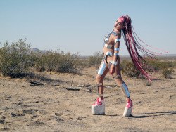 "Brooke Candy in Custom Seth Pratt Armor suit on the set of Grimes ""Genesis"" video."
