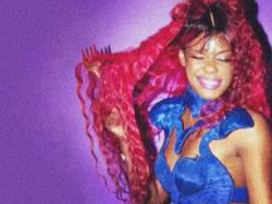 Azealia Banks in Seth Pratt pleated body armor.