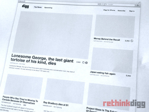 parislemon:  The Betaworks Digg team seems to be saying all the right things leading up to the (re)launch later this week.  Notably, the site will be extremely simple (but much more visual), and will take into account Facebook shares and tweets on top of diggs. And there will be human moderators to organize the homepage.