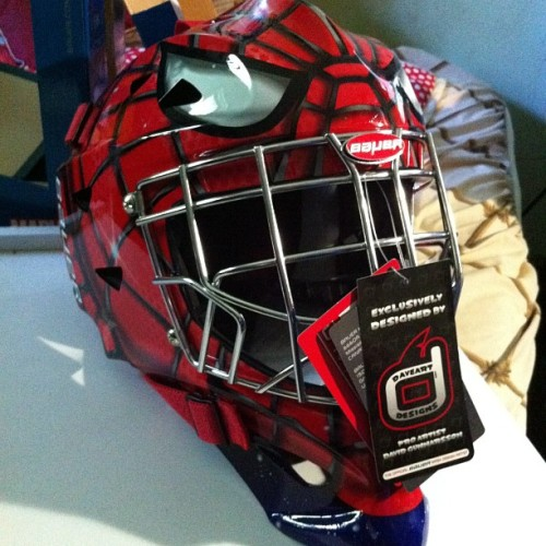 Can't wait to play some hockey soon. #spiderman #icehockey #goalie #helmet (Taken with Instagram)