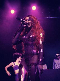 Azealia Banks in custom Seth Pratt mermaid armor suit.