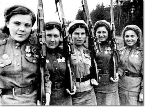 "clubjacobin:  Five female Soviet snipers during World War II.  So I'll reblog this to problematize my own posting of it (along with those other pics this morning). I don't usually do the ""commie women with guns"" posts not because they're not cool and transgressive but because it seems crucially incomplete to show these images without also discussing how in most cases after liberation was won or the war crisis was over, the prior prevailing gender roles often returned either in whole or in part. If political power grows out of the barrel of a gun, then why has the literal carrying and use of guns by women in revolutionary movements done so relatively little to challenge patriarchy in these societies after liberation? Is it because the women were not carrying guns in the pursuit of independent autonomous women-led political movements? And if so, how do we read these images? Curious if anyone knows about good writing that has been done on this subject."