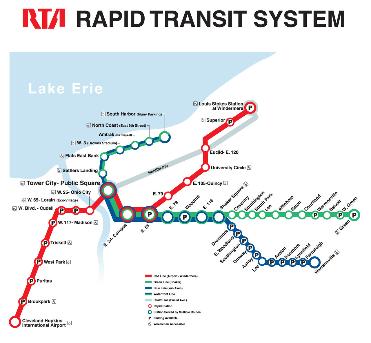 Official Map: Rapid Transit of Cleveland, Ohio After posting a photo of a vintage Cleveland RTA rapid transit map, I was curious as to what the current map looked like. Oh dear. Maybe I shouldn't have looked. Have we been there? No. What we like: Sadly, the best thing about this map is the nicely retro-styled RTA agency logo. As for the rest… What we don't like: Multiple angles for route lines instead of the standard 45-degrees looks messy and poorly thought out. Strange spacing of stations on the eastern part of the Green Line. Multicoloured concentric rings for interchange stations gives a strange rainbow vibe to the whole map that becomes quite jarring when four colours -green, red, blue and silver - are used at the Tower City station. Strangely and inconsistently, this concentric ring device is not used on the Waterfront Line, with two half rings being used instead. The Waterfront Line is also drawn with thinner lines than the rest of the map, which confused me greatly at first: isn't it just an extension of the Green and Blue Lines? I had to do some research to find out that the Waterfront Line only operates on weekends - an incredibly vital piece of operating information that isn't indicated on the map at all. A simple addition to the legend would have worked nicely here. Embarrassingly desultory addition of the HealthLine BRT route. Our rating: Ugh. An ugly, confusing, inconsistent mess. One star.  (Source: Official RTA website)