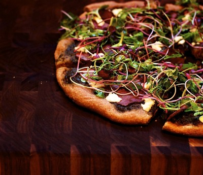 Pink Potato Pizza with Goat Cheese and Microgreens with recipe (link)