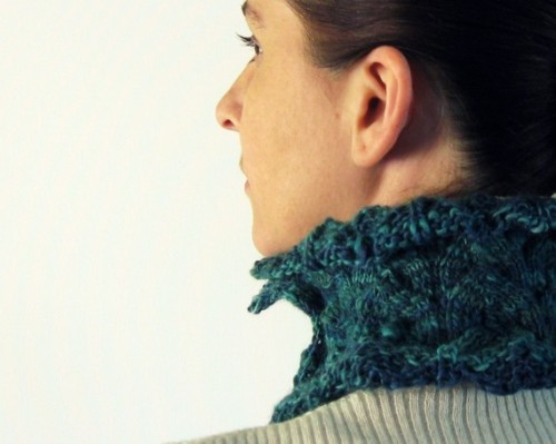 branda (via Lace Cowl Knitted in Teal Green and Blue Merino Wool by branda)