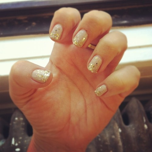 Gold glitter tips by @misspopnails! (Taken with Instagram)