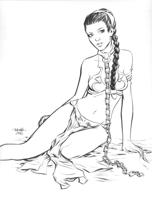 mtakara:  commission - Slave Leia by *marciotakara