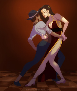 glasworks:  Korra and Asami, dancing in a club in Republic City. I love thinking about this setting and the characters and their connection to each other in this setting. I listen to several fitting music pieces while drawing this, for example this and this.  A sequel to those pictures.  i highly approve of this message Asami are you sure you know how to lead ;o