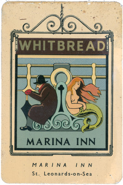 adventures-of-the-blackgang:  Marina Inn; Whitbread miniature Pub Sign, The Marina, Saint-Leonards-on-Sea, SussexDesigned by Violet Rutter, 1949Scans of a set of miniature pub signs designed and manufactured by the Whitbread brewery in 1949. These were printed on metal and given out as promotional pieces by the pubs. These are from the first set, Sussex and Kent.
