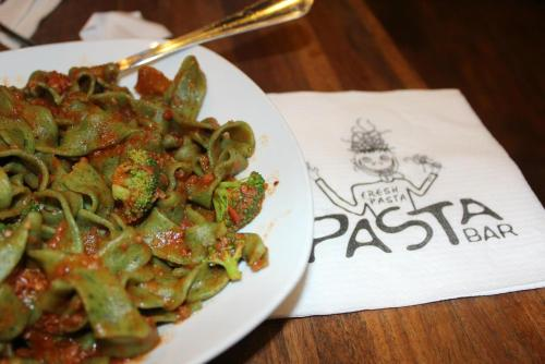 Fresh pasta in Barcelona, Spain.