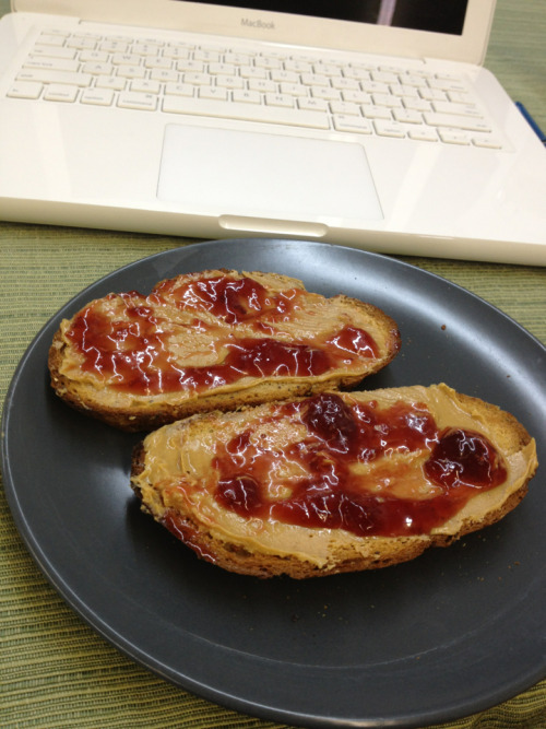 Open faced pb&j!