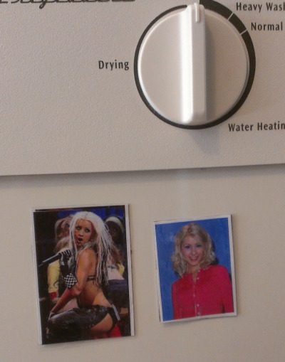 jakeklock:  Today I made some Christina Aguilera magnets for our dishwasher so we would know if our dishes were clean or dirrty.