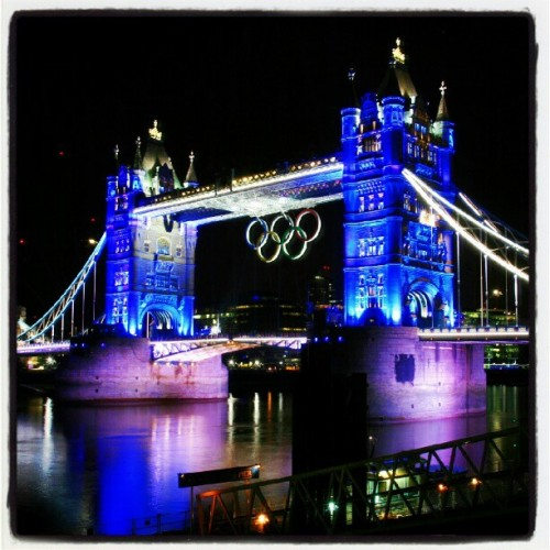 If you are around London this summer, I recommend a midnight river walk.  The Olympic rings on Tower Bridge look amazing! (Taken with Instagram)