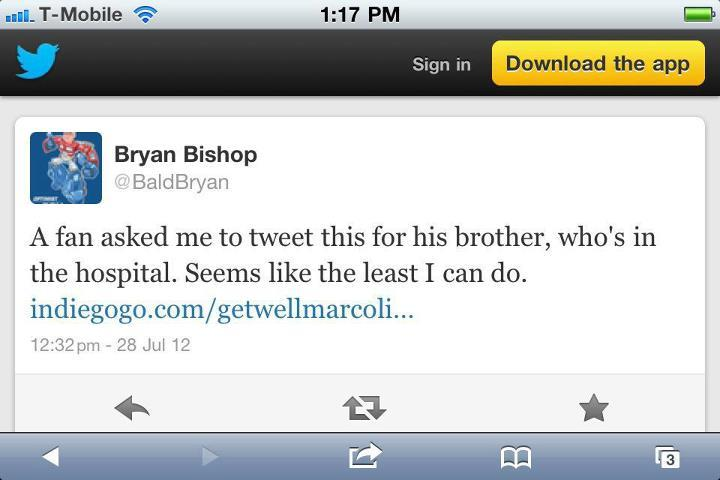 7/28 Bald Bryan Bishop of the Adam Carolla Show tweeted on Saturday sending his 20k tweeters to the indiegogo site. Thanks Bryan! http://on.fb.me/OvE1x7