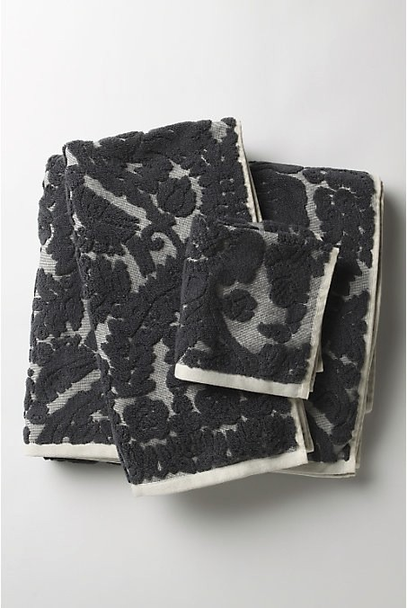 [Charcoal Damask Towels by Anthropologie]
