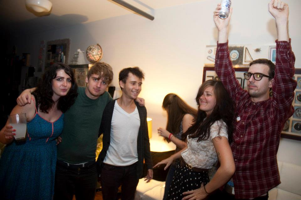 party photo of lucy k shaw, steve roggenbuck, spencer madsen, megan boyle and me.