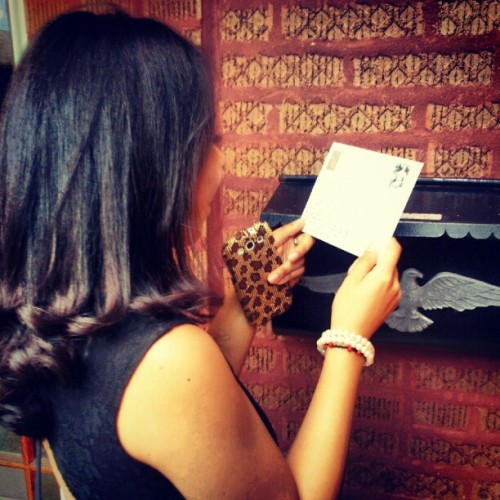 @peachyleeta receiving the post card I sent her from Vatican City…two and a half weeks later. #sister #postcards #vaticancity #rome #lol (Taken with Instagram)