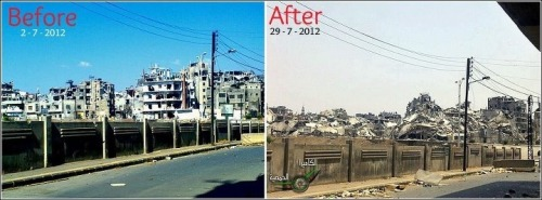 The photo on the left is Jouret Al Sheyah in Homs (Syria) as of 2/7/2012. The photo on the right is 27 days later. What were bombed out buildings before is now rubble. Thanks @The_47th