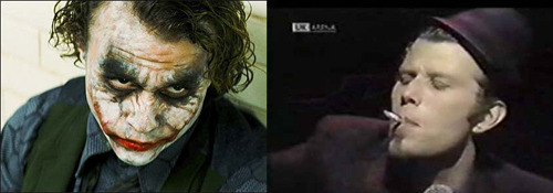 Heath Ledger's Joker Inspired By Singer-Songwriter Tom Waits? Watch the interview below and judge for yourselves. Ledger and Waits were both in Terry Gilliam's The Imaginarium of Doctor Parnassus back in 2009, so it's possible.  (via Newsarama)