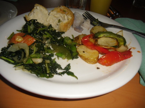 breakfast nom-nom: callaloo, potatoes, provision and johnnycakes
