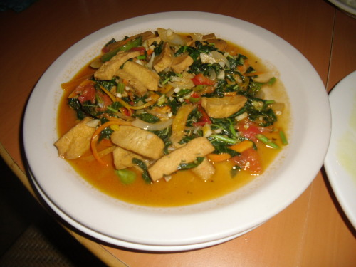 tofu, callaloo, cabbage and carrots
