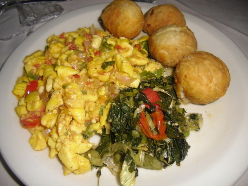 ackee, callaloo and johnny cakes with fresh scotch bonnet peppers. owwwwww!!