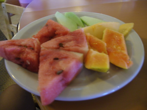 watermelon (seeded cause we need it), cantaloupe, papaya and honeydew