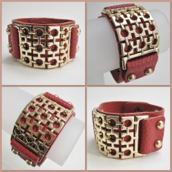 Henry Strap Bracelet in Burgundy Red