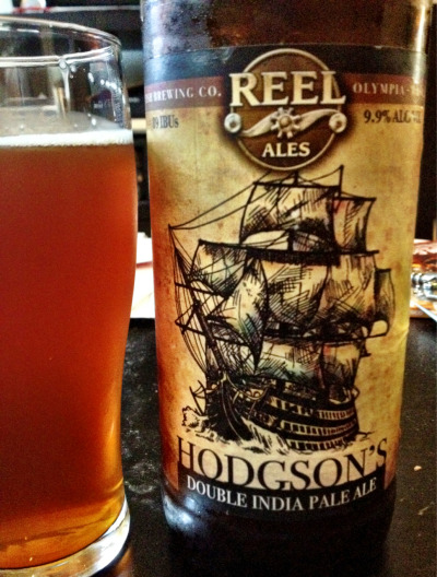 Hodgson's Double IPA, Fish Brewing Co., Olympia, WA, 9.9% abv.  This pours an amber orange with a thin white head that dissipated quickly. The taste has plenty of booze and hop bitterness, but lacks the complexity of a standout DIPA.