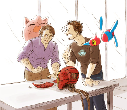 Another livestream drawing! Tony and Bruce trying to do science but getting interrupted by Jigglypuff, who does not appreciate Tony taking away Bruce's attention. Porygon Z just watches…..