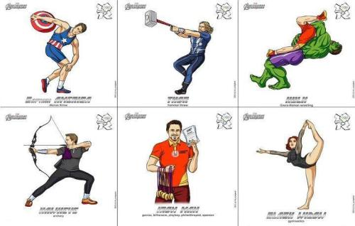 Avengers in London Olympics DeviantArt user Scargeear create a selection of incredibly cool mash-up posters that involve Marvel's The Avengers and the London 2012 Olympic Games.