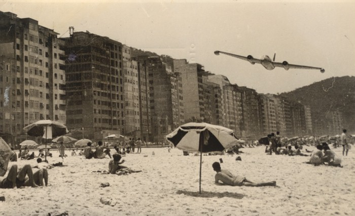 Cold War crowd cropper #2 planeshots:  Canberra low pass over Copacabana Beach