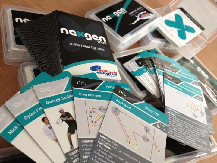 ultimate playing cards with drills and tips from NexGen players.  Karen has been saying for weeks now that they (we?) should make trading cards for ultimate players, so we can finally settle arguments about who was playing for who in what year at what tournament. Like baseball cards, but way cooler :D