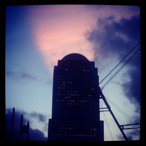 07302012 #WTC // #Sunset #Sky // I don't actually know what building that is… // #NYC #Sun #Colors #WorldTradeCenter  (Taken with Instagram at WTC)