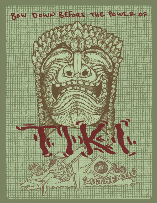 "I made this as part of a paper I wrote about Tiki Culture for an art history class I was just in. The class was called ""Whores and Savages"". There was a nice Australian lady in the class who would bake treats for us all the time (there were only eight people in the class). She made us Lamingtons once. They were so good."