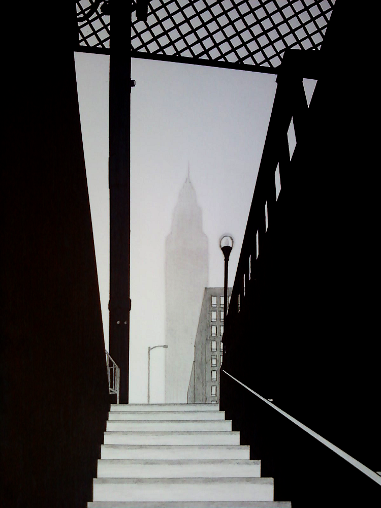 "decoarchitecture:  ""Empire in the Mist""Drawing by nothing2144 ESB as seen from (I assume) a subway entrance. From the artist:  New York City scenery with the Empire State Building.Based on a real image."