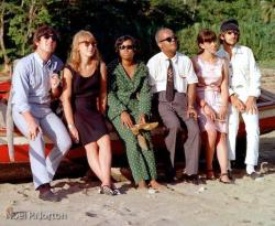 John Lennon and George Harrison hanging out with Trinidad and Tobago's first Prime Minister, Dr. Eric Williams, in Tobago.