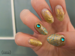 mani-meuse:  This week's mani was inspired by the jewelry and glasswork of René Lalique. This is far from the last art nouveau set you'll see on this blog; I've had an aesthetic obsession with this movement since taking design history in college and it never ceases to inspire.