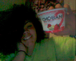 I am promoting Chobani yogurt! It is my absolute favorite, besides milk, and you all know how much I like milk :) Ha! Everyone should try strawberry banana :D mmmmmm!!! Yay!