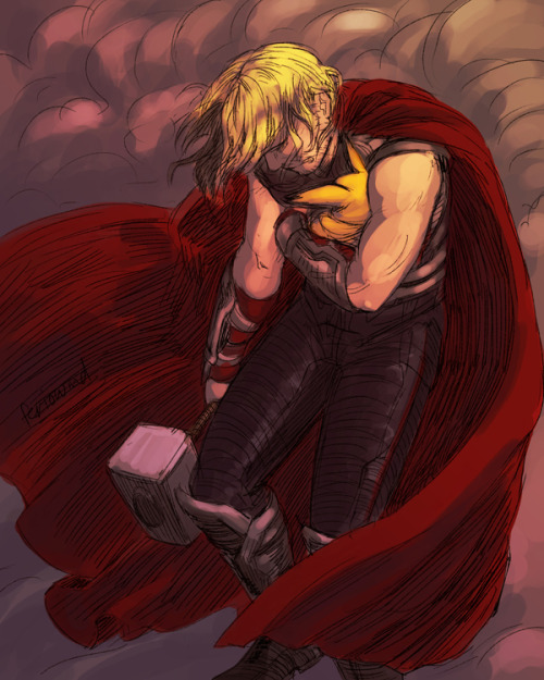 *0* Another livestream drawing!  Thor cradling an injured Pichu in his arms. ;^; He's already failed Loki, he'll be damned before he fails his Pokemon.