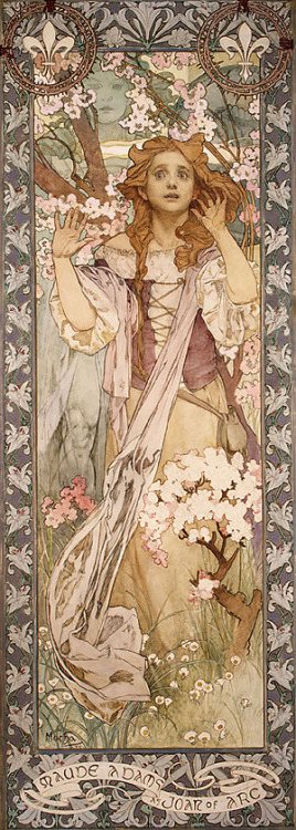 suicideblonde:  Maude Adams as Joan of Arc (1909) by Mucha