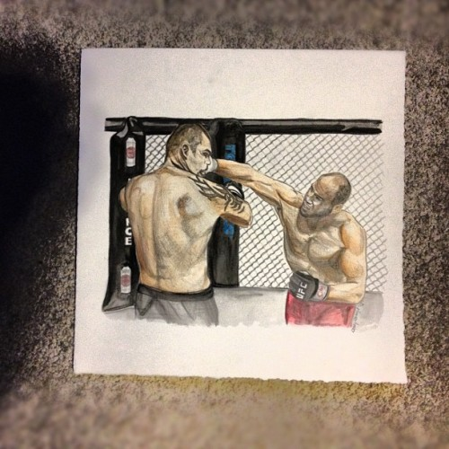 Finished. Fourth #watercolor of nine. Commissioned Randy #couture vs Tim #sylvia #ufc #MMA #art #illustration #draw #drawing #paint #painting #paper #stacystranzl  (Taken with Instagram at The Studio)