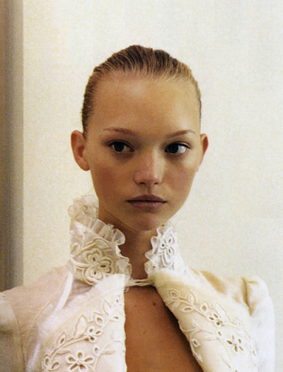 L'air de Rien. Gemma Ward backstage at Balenciaga Spring 2006, photographed by Elin Hörnfeldt for Vogue Paris, February 2006.