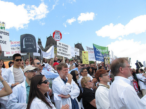 "socialuprooting:  The growing mobilization against Harper Scientists. Doctors. Nuclear engineers. Academics. Researchers. Stephen Harper has a big problem. He has ticked them all off. And they are not suffering their grievances or concerns for informed, fact-based public policy and decision-making, the environment, the health of Canada's most vulnerable citizens and the safety of all of us in silence. No. Instead they are protesting, marching, disrupting government news conferences. They are mobilizing.Their website notes that the only specific evidence ""Mr. Harper wants the public to know about is that which supports his political objectives and ideology. That's not science, that's propaganda."""